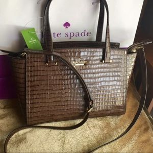 Kate Spade Patterson Drive Satchel Croc Cocoa NWT